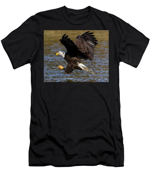 Men's T-Shirt (Athletic Fit) featuring the photograph Bald Eagle Fishing On The James River by Lori Coleman