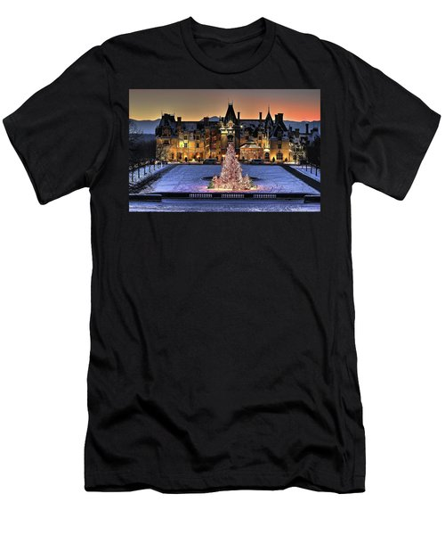 Biltmore Christmas Night All Covered In Snow Men's T-Shirt (Athletic Fit)
