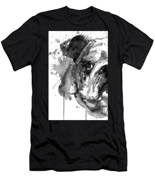Black And White Half Faced English Bulldog Men's T-Shirt (Athletic Fit)