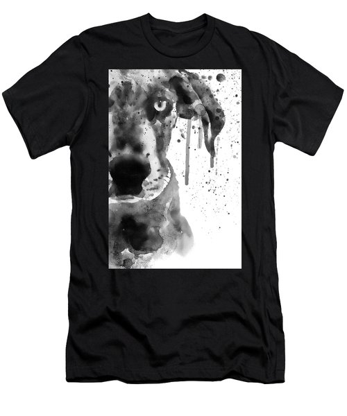 Black And White Half Faced Puppy Men's T-Shirt (Athletic Fit)
