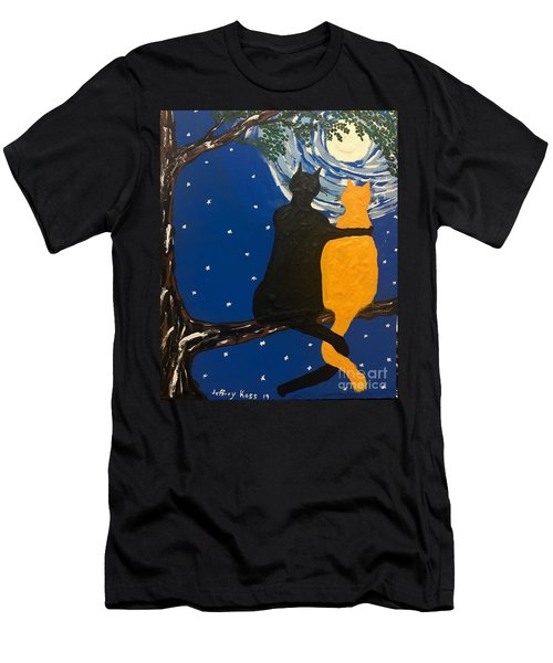 Black Cat In Love Men's T-Shirt (Athletic Fit)