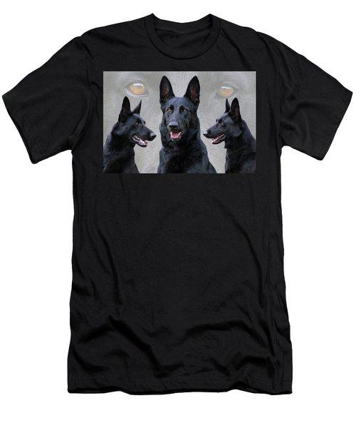 Black German Shepherd Dog Collage Men's T-Shirt (Athletic Fit)