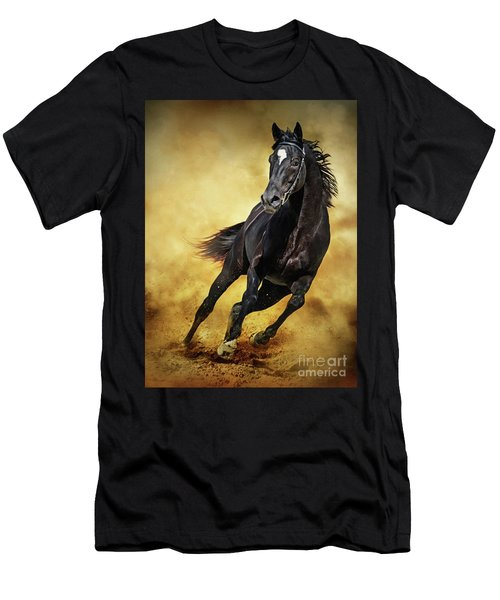 Men's T-Shirt (Athletic Fit) featuring the photograph Black Horse Running Wild by Dimitar Hristov