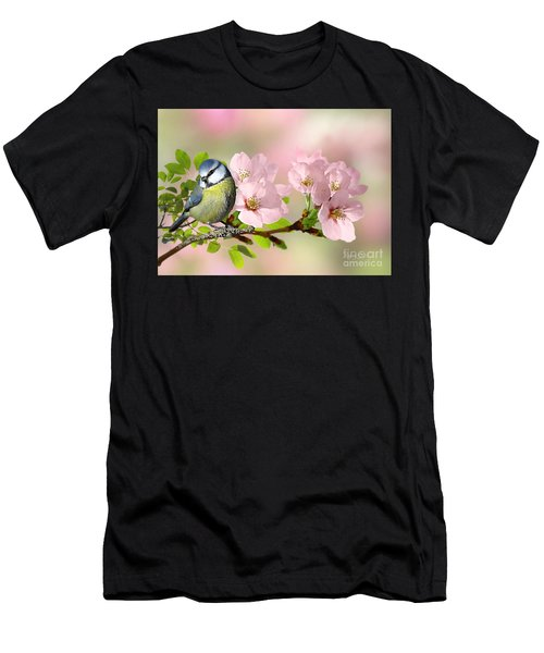 Blue Tit On Apple Blossom Men's T-Shirt (Athletic Fit)