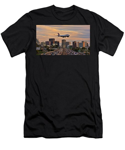 Boeing 747 Landing In San Diego Men's T-Shirt (Athletic Fit)