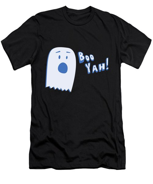 Men's T-Shirt (Athletic Fit) featuring the digital art Booyah Funny Halloween Ghost by Flippin Sweet Gear
