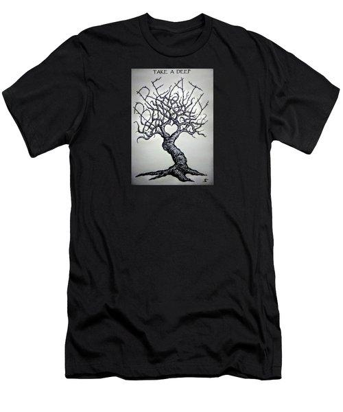 Breathe Love Tree - Blk/wht Men's T-Shirt (Athletic Fit)