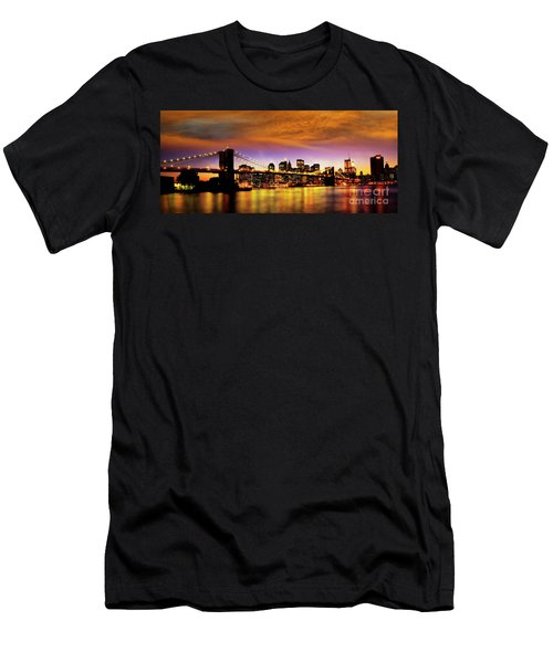 Men's T-Shirt (Athletic Fit) featuring the photograph Bridging The East River by Scott Kemper