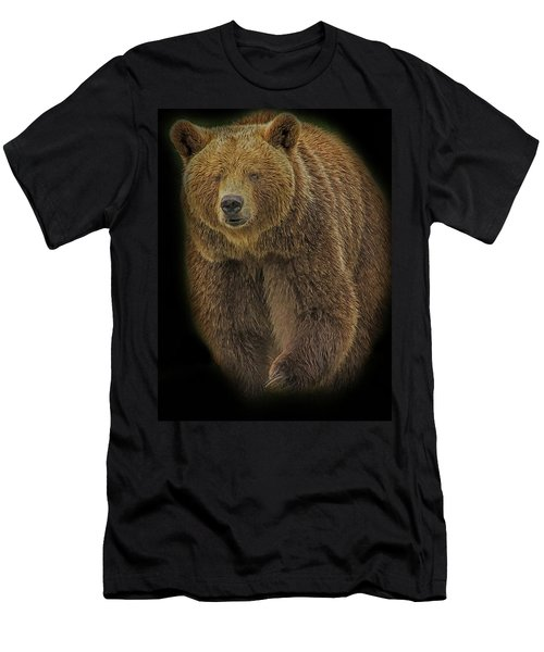Men's T-Shirt (Athletic Fit) featuring the digital art Brown Bear In Darkness by Larry Linton