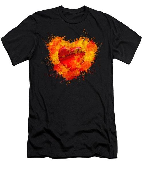 Burning Heart Men's T-Shirt (Athletic Fit)