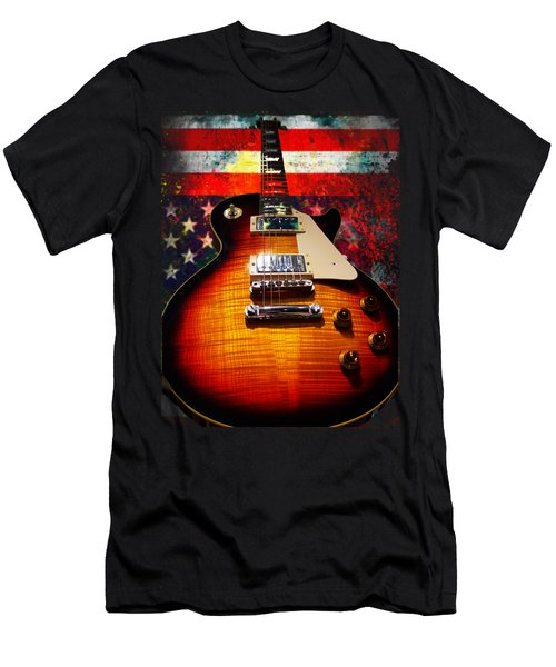Burst Guitar American Flag Background Men's T-Shirt (Athletic Fit)