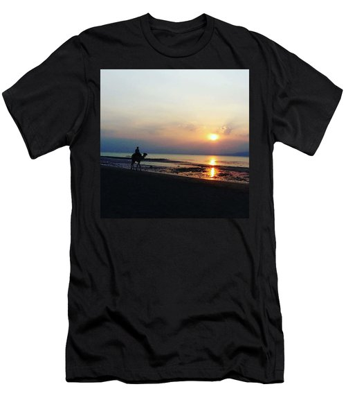 Camel Walking Along The Shoreline At Sunset In Egypt Men's T-Shirt (Athletic Fit)