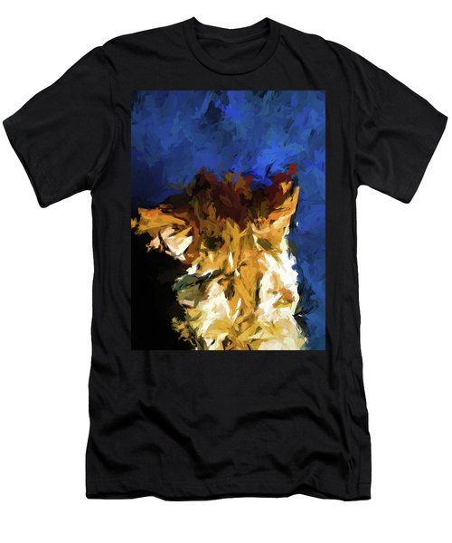 Cat And The Cobalt Blue Wall Men's T-Shirt (Athletic Fit)