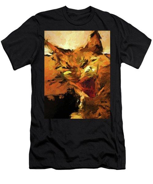 Cat Cathartic Scream Men's T-Shirt (Athletic Fit)