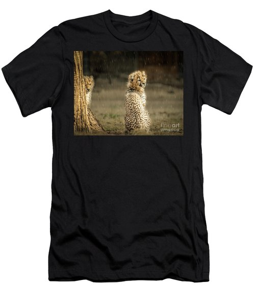 Cheetah Cubs And Rain 0168 Men's T-Shirt (Athletic Fit)