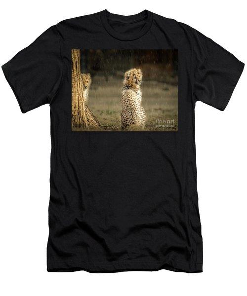 Cheetah Cubs And Rain 0168 Men's T-Shirt (Athletic Fit)