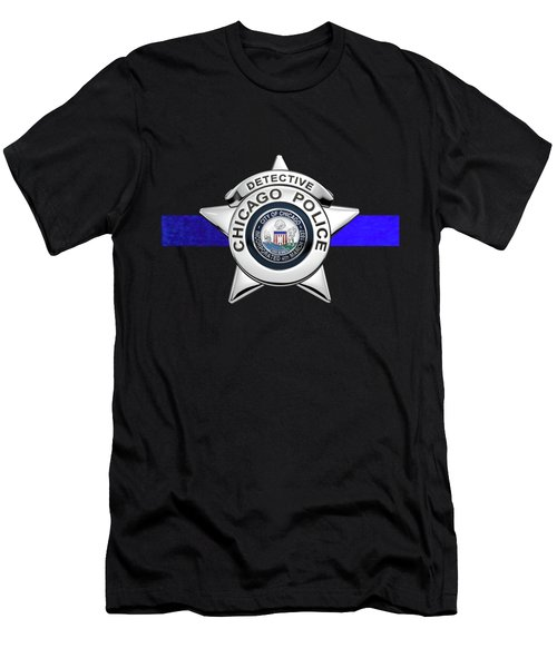 Chicago Police Department Badge -  C P D  Detective Star Over The Thin Blue Line Men's T-Shirt (Athletic Fit)