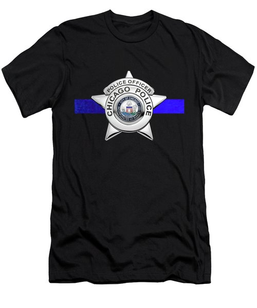 Chicago Police Department Badge -  C P D   Police Officer Star Over The Thin Blue Line Men's T-Shirt (Athletic Fit)