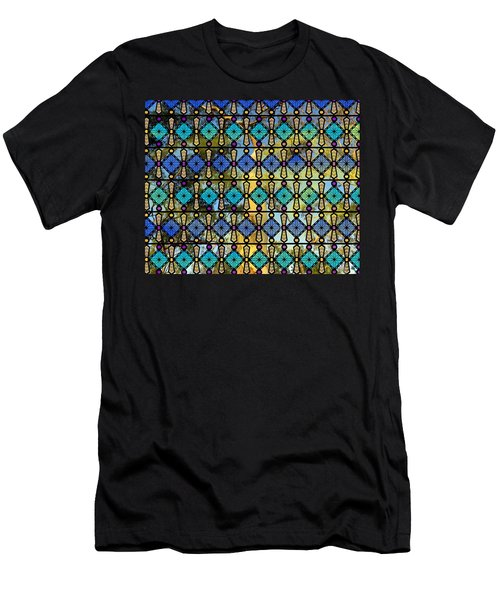 Men's T-Shirt (Athletic Fit) featuring the mixed media Colour Glass Window View To The Gums by Joan Stratton