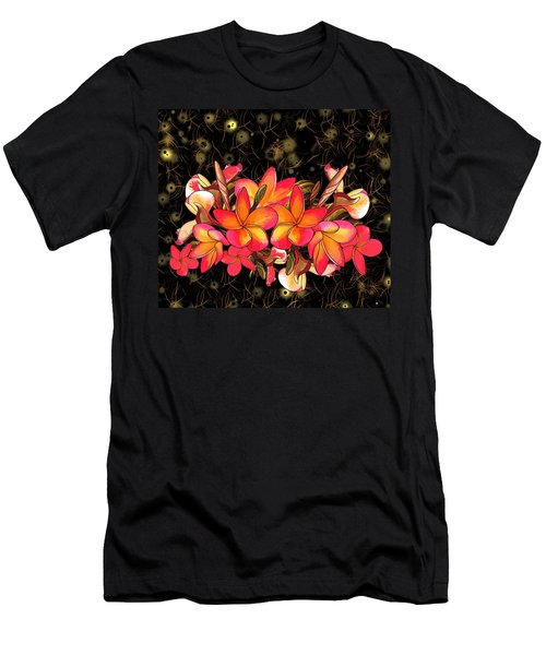Coloured Frangipani Black And Gold Background Men's T-Shirt (Athletic Fit)