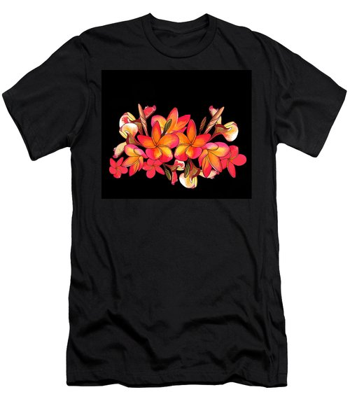 Men's T-Shirt (Athletic Fit) featuring the drawing Coloured Frangipani Black Bkgd by Joan Stratton