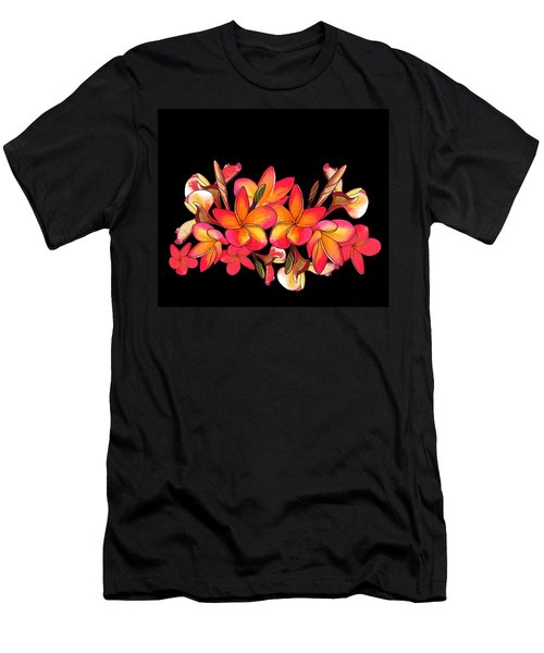 Coloured Frangipani Black Bkgd Men's T-Shirt (Athletic Fit)