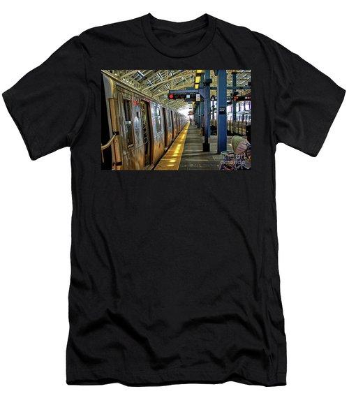 Coney Island Subway Train Station Men's T-Shirt (Athletic Fit)