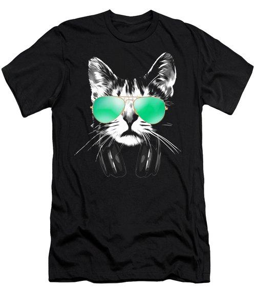 Cool Dj Cat Men's T-Shirt (Athletic Fit)