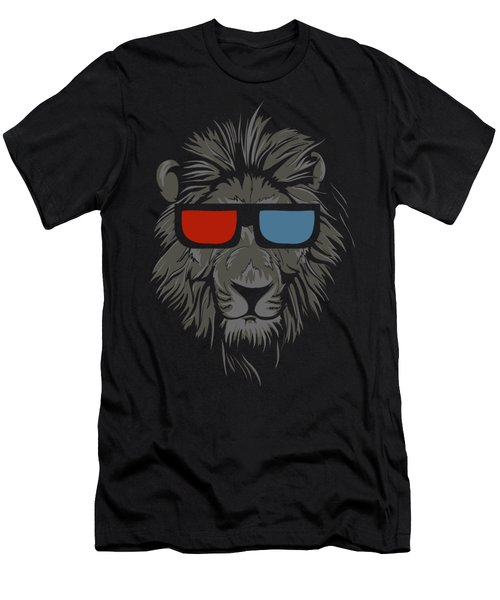 Cool Lion With Glasses Men's T-Shirt (Athletic Fit)