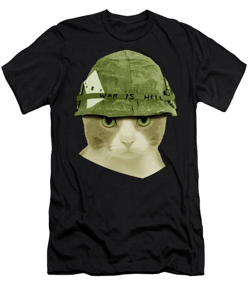 Cute War Is Hell Army Cat Men's T-Shirt (Athletic Fit)