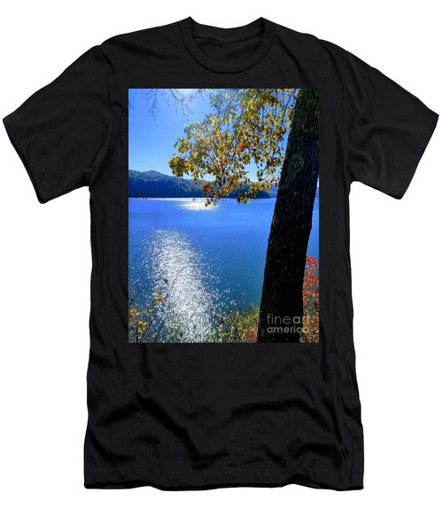 Men's T-Shirt (Athletic Fit) featuring the photograph Diamond Ripples On The Water by Rachel Hannah