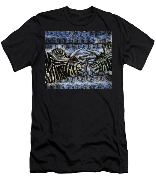Dinosaur Triceratops Head On Battle Men's T-Shirt (Athletic Fit)