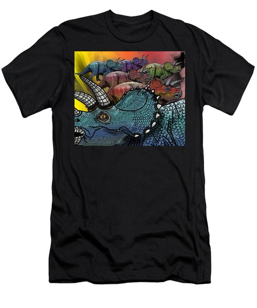 Dinosaur Triceratops Herd Men's T-Shirt (Athletic Fit)