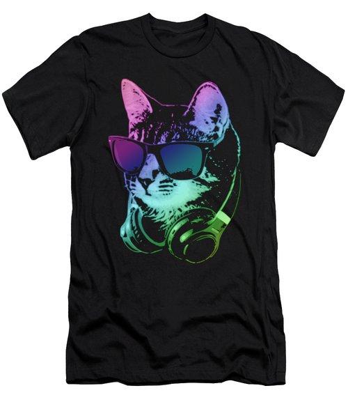 Dj Cat In Neon Lights Men's T-Shirt (Athletic Fit)