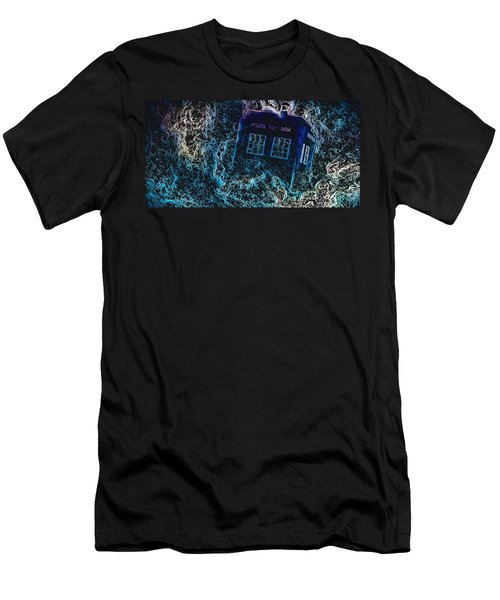 Men's T-Shirt (Athletic Fit) featuring the mixed media Doctor Who Tardis 3 by Al Matra