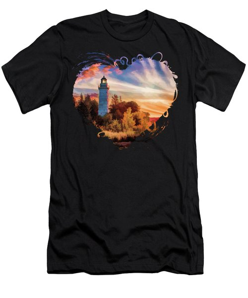 Door County Cana Island Lighthouse Sunrise Panorama Men's T-Shirt (Athletic Fit)