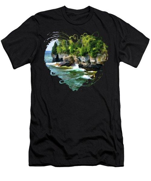 Door County Cave Point Cliffs Men's T-Shirt (Athletic Fit)