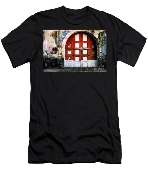 Men's T-Shirt (Athletic Fit) featuring the photograph Doors Of India - Garage Door by Miles Whittingham