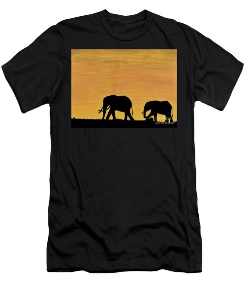 Elephants - At - Sunset Men's T-Shirt (Athletic Fit)