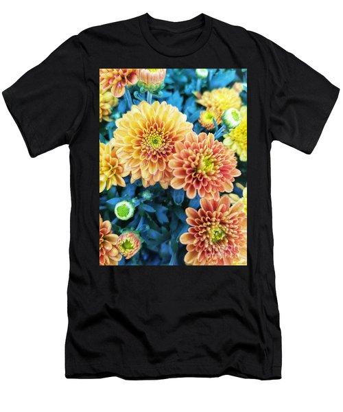 Men's T-Shirt (Athletic Fit) featuring the photograph Fall Chrysanthemums Autumn Orange Peach by Rachel Hannah