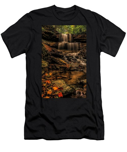 Fall Colors Along West Milton Waterfall Men's T-Shirt (Athletic Fit)