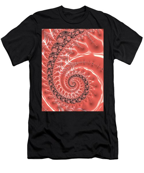 Men's T-Shirt (Athletic Fit) featuring the digital art Fractal Spiral Living Coral by Matthias Hauser