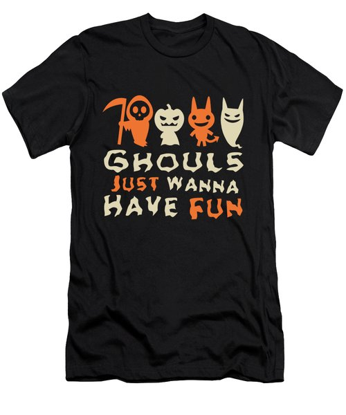Men's T-Shirt (Athletic Fit) featuring the digital art Ghouls Just Wanna Have Fun Halloween by Flippin Sweet Gear
