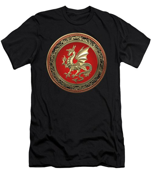 Gold Winged Norse Dragon - Icelandic Viking Landvaettir On Red And Gold Medallion Over Black Leather Men's T-Shirt (Athletic Fit)