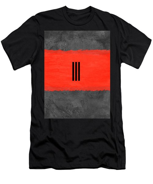 Grey And Red Abstract I Men's T-Shirt (Athletic Fit)