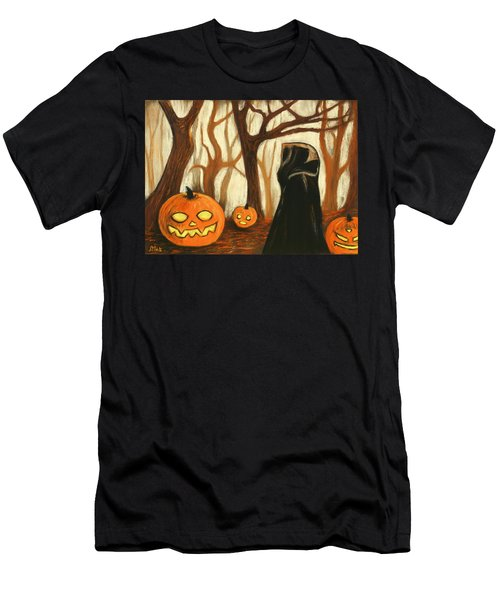 Men's T-Shirt (Athletic Fit) featuring the painting Halloween Forest by Anastasiya Malakhova