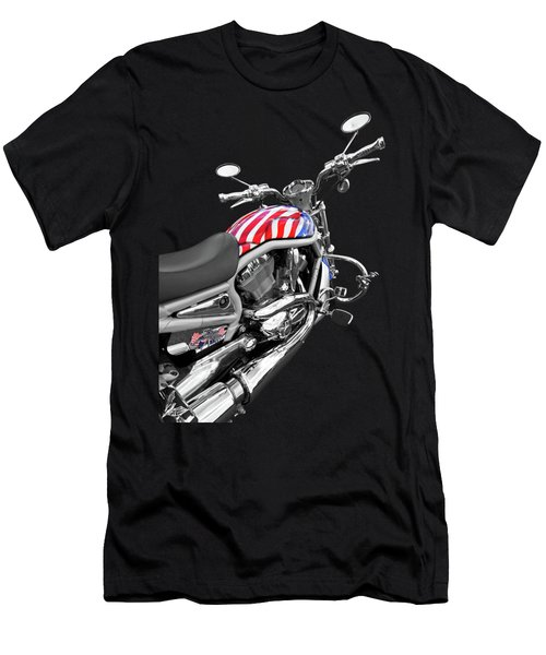 Harley Davidson Screamin Eagle Stars And Stripes On Black Men's T-Shirt (Athletic Fit)