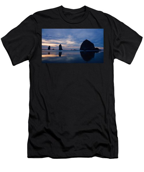 Haystack Rock At Dusk Men's T-Shirt (Athletic Fit)