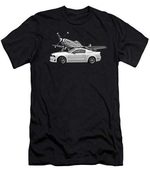 High Flyers - Mustang And P51 In Black And White Men's T-Shirt (Athletic Fit)