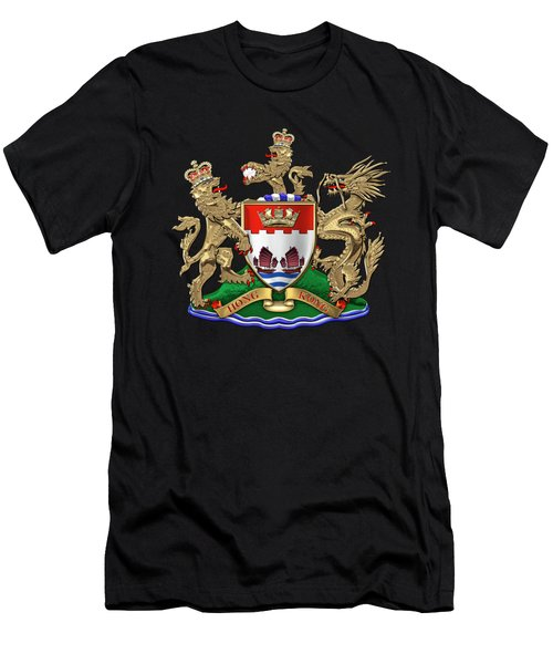 Hong Kong - 1959-1997 Coat Of Arms Over Black Leather  Men's T-Shirt (Athletic Fit)